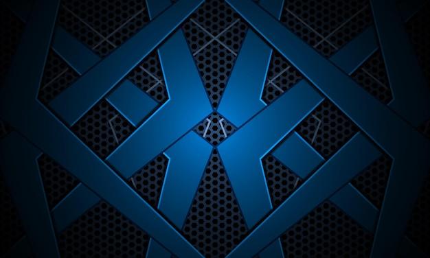 Donkerblauwe futuristische d-achtergrond met abstracte metalen vormen en zeshoekig koolstofraster