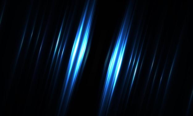 Donkerblauwe geometrische achtergrond met diagonale gloeiende lichtlijnen en schaduwen