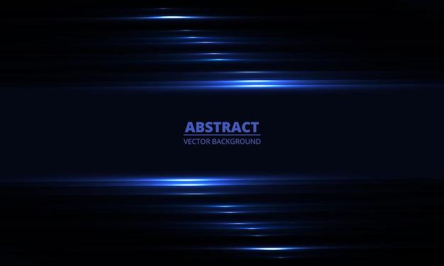 Donkerblauwe geometrische achtergrond met horizontale gloeiende lichtlijnen en schaduwen