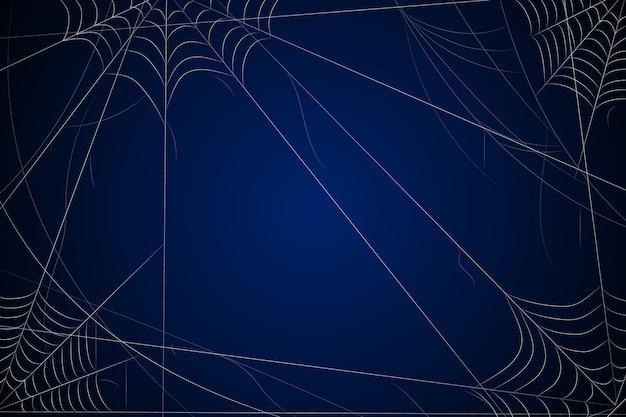 Donkerblauwe halloween-achtergrond met spinneweb