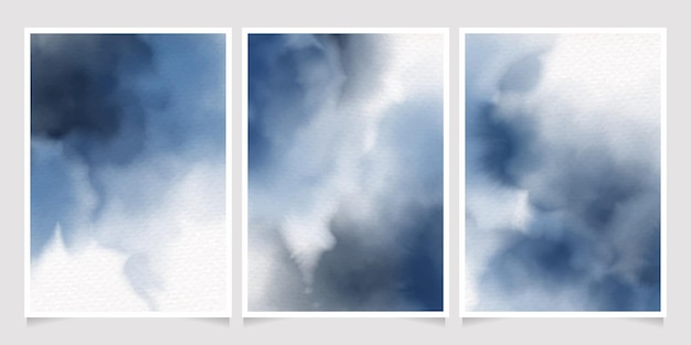 Donkerblauwe indigo aquarel splash uitnodiging kaartsjabloon collectie