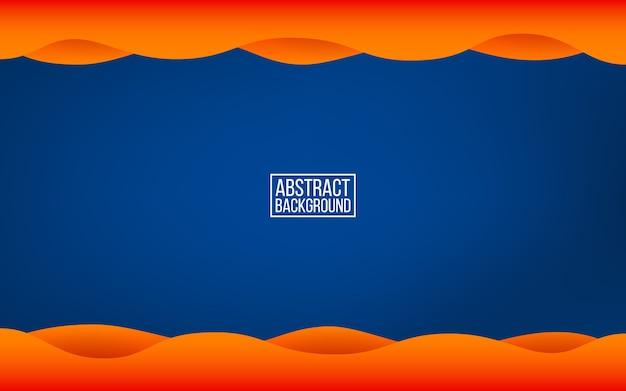 Donkerblauwe laagachtergrond. oranje golven met schaduwen. trendy kleuren decor voor web of poster. moderne abstracte achtergrond. illustratie.