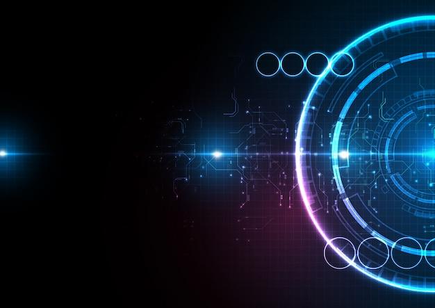 Donkerblauwe lichtcirkel digitale technologie
