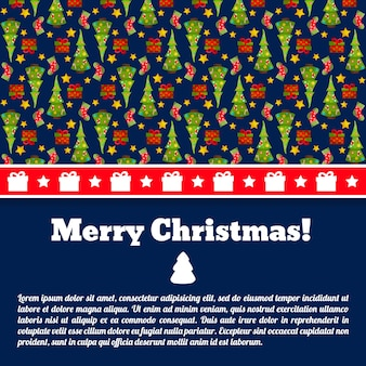 Donkerblauwe merry christmas-ansichtkaart met tekstveld en sparren