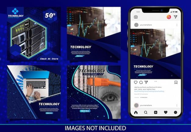 Donkerblauwe moderne technologie insta post banner ontwerp vector