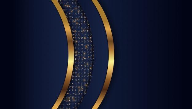 Donkerblauwe overlappingsachtergrond met gouden lichte lijn