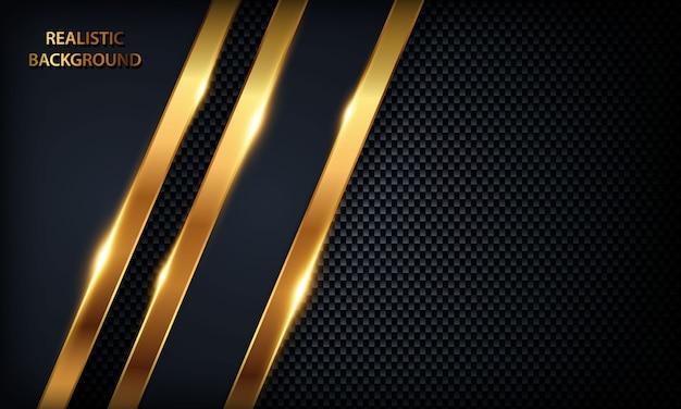 Donkerblauwe overlappingsachtergrond. textuur met gouden lijn, metalen ontwerp en gouden licht.
