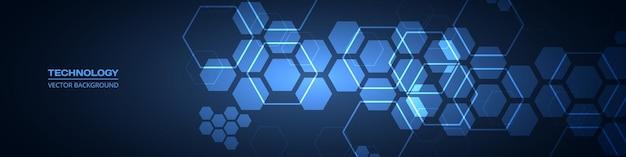 Donkerblauwe technologie abstracte brede achtergrond met zeshoekige elementen