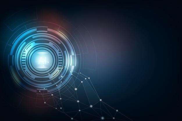 Donkerblauwe technologie en met de hand drukken op ai, hightech abstracte achtergrond