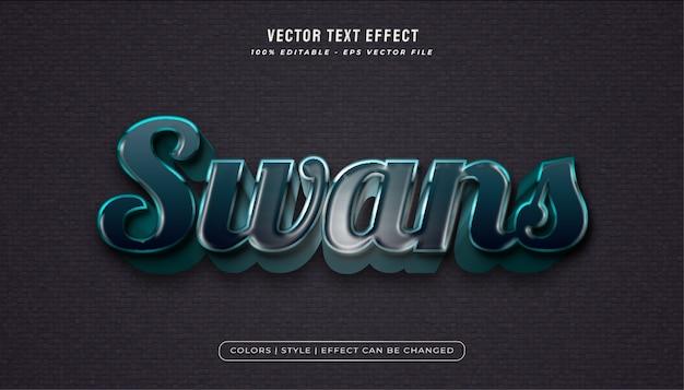 Donkerblauwe tekststijl met realistisch plastic textuureffect