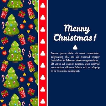 Donkerblauwe vrolijke kerstkaart met sparren aan de linkerkant