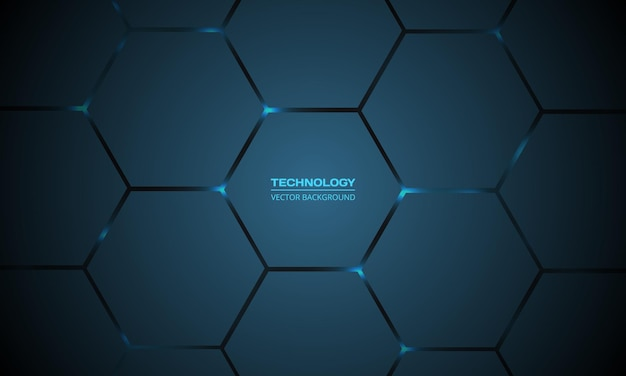 Donkerblauwe zeshoekige technologie abstracte achtergrond