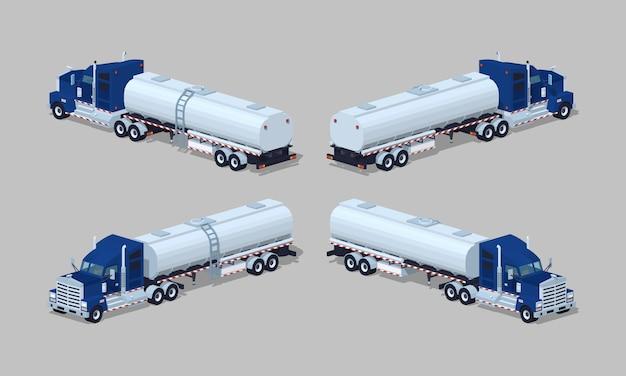 Donkerblauwe zware 3d lowpoly isometrische vrachtwagen met tank-aanhangwagen