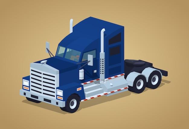 Donkerblauwe zware amerikaanse vrachtwagen