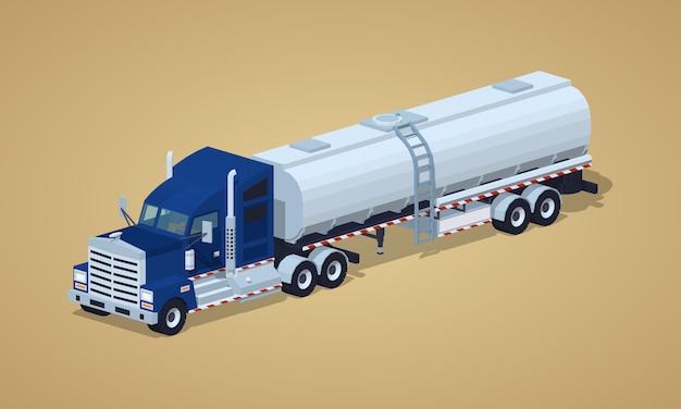 Donkerblauwe zware vrachtwagen met zilveren tankwagen