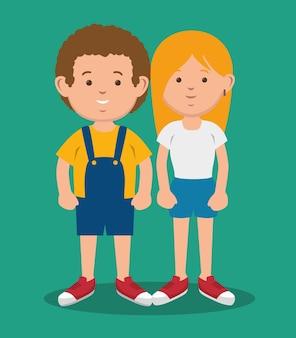 Donkerbruin jongen en blondemeisje die zich verenigen