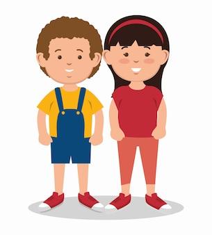 Donkerbruin jongen en meisje die zich verenigen