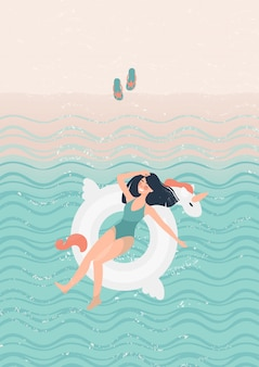 Donkerbruin meisje in een groen zwempak op een witte rubbereenhoornillustratie