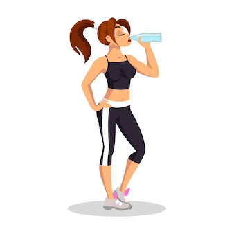 Donkerbruin meisje in sporttop, korte leggings en loopschoenen staand en drinkwater. jonge sportvrouw die rust heeft. dagelijkse training, gezonde, actieve levensstijl. cartoon op wit.