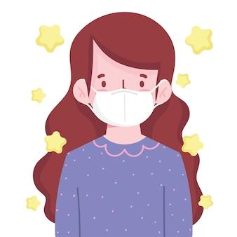 Donkerbruin meisje met nieuwe normaal maskerbescherming