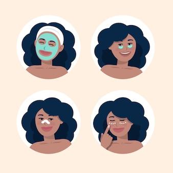 Donkerbruine vrouw die haar huidverzorgingsroutine doet