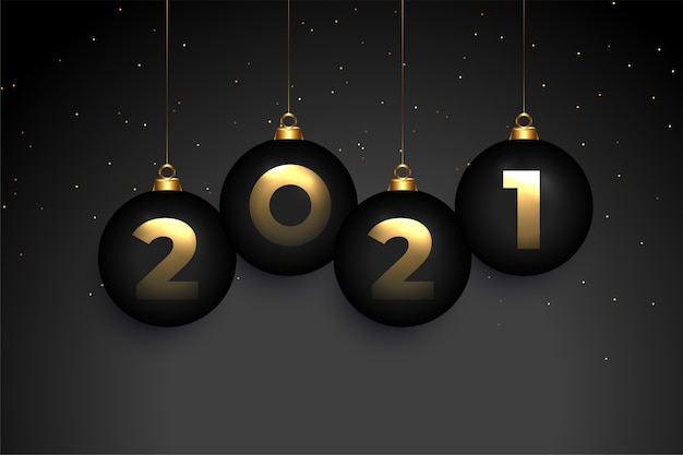 Donkere 2021 gelukkig nieuwjaar achtergrond met kerstballen