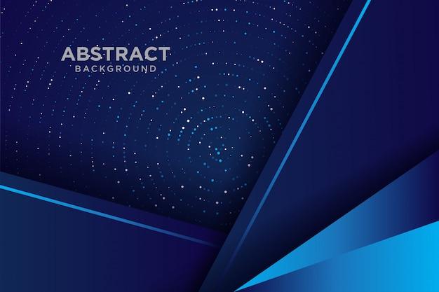 Donkere abstracte achtergrond met blauwe overlappende lagen. achtergrond overlappende laag met glitters.