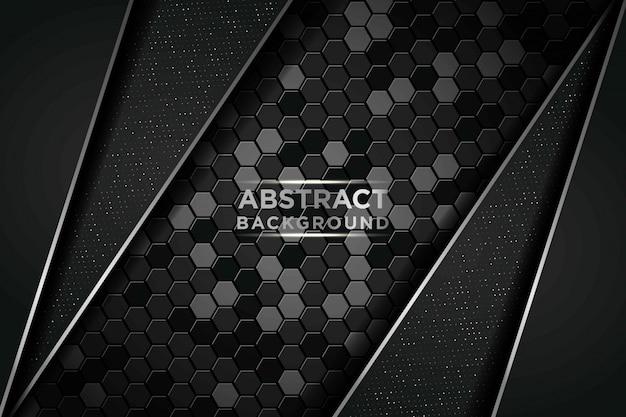 Donkere abstracte achtergrond met cirkel en zwarte overlappende lagen. zilveren lijst en zilveren glitters stippen element op zeshoek gestructureerde achtergrond