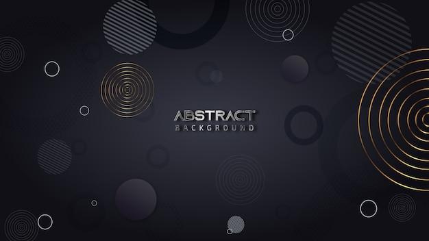 Donkere abstracte achtergrond met cirkels Premium Vector