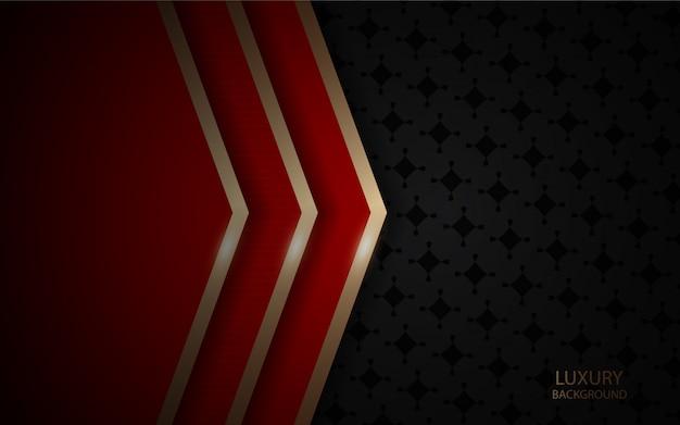 Donkere abstracte achtergrond met de rode textuur van overlappingslagen met gouden lijn
