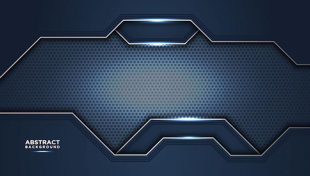 Donkere abstracte achtergrond met donkerblauwe overlappende lagen.