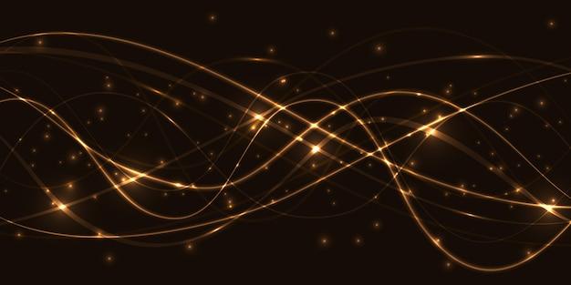 Donkere abstracte achtergrond met doorzichtige lichtgevende lijnen.