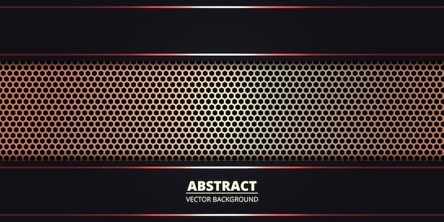 Donkere abstracte achtergrond met gouden metalen zeshoek koolstofvezel. abstracte technische achtergrond met rode lichtgevende lijnen op koolstofraster.