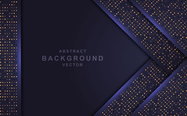 Donkere abstracte achtergrond met overlappende lagen en gouden glitters.