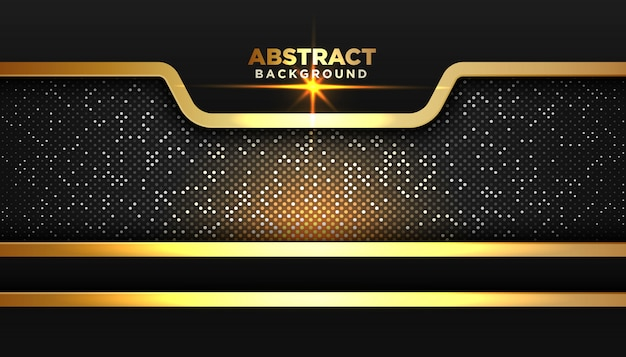 Donkere abstracte achtergrond met overlappende lagen. gouden glitters stippen element