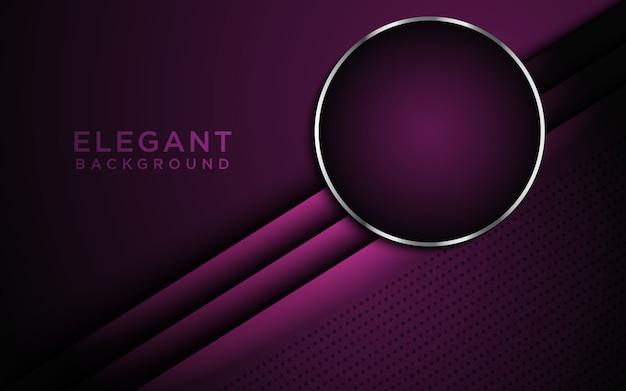 Donkere abstracte achtergrond met paarse overlappende lagen en cirkel