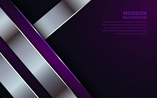 Donkere abstracte achtergrond met paarse overlappende lagen.