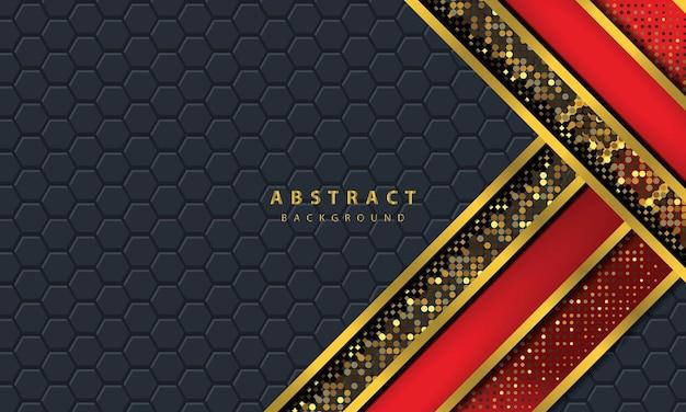 Donkere abstracte achtergrond met zwarte overlappende lagen. textuur met gouden lijneffect element decoratie. rode achtergrond vector.