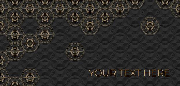 Donkere abstracte geometrische achtergrond met oranje dunne lijnen.