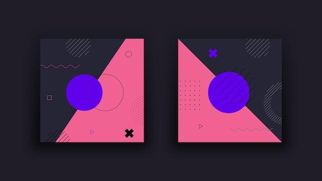 Donkere abstracte geometrische backround. vintage trends uit de jaren 80 in memphis-designstijl. minimalistische achtergrond.
