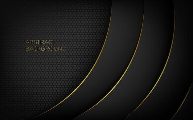 Donkere abstracte moderne achtergrond met gouden lijnen