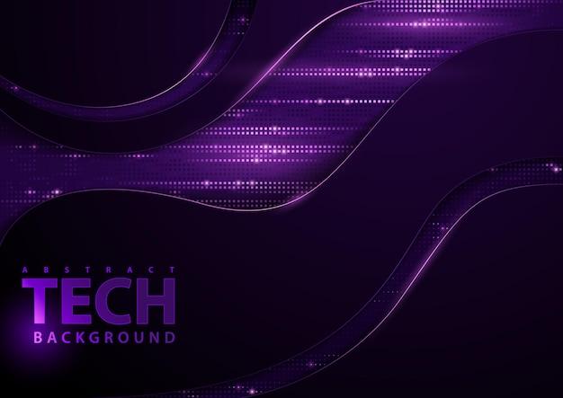 Donkere abstracte technische achtergrond met paarse elementen