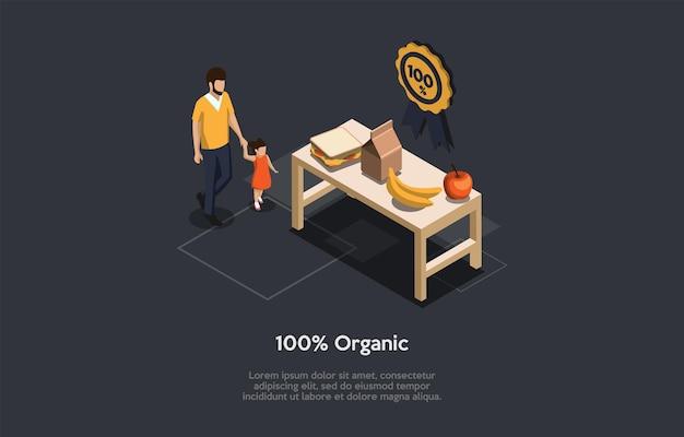 Donkere achtergrond, conceptueel schrijven. isometrische vector samenstelling, illustratie in cartoon 3d-stijl. biologisch gezond voedsel, man en kind komen aan tafel met goede maaltijden. goedkeuringsetiket hangend.