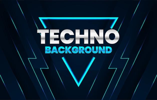 Donkere achtergrond met blauw technoconcept van de lijnensamenstelling