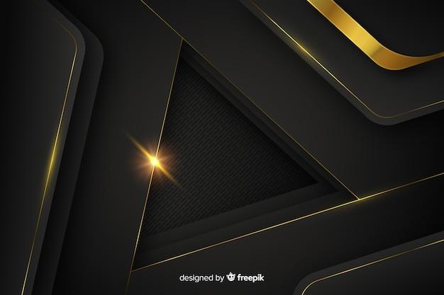 Donkere achtergrond met gouden abstracte vormen