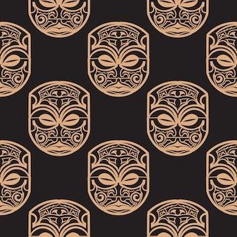 Donkere achtergrond met maskers van de polynesische stammen. vector illustratie.
