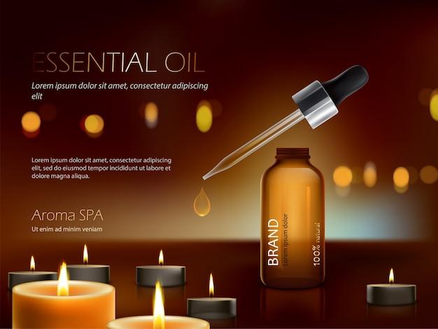 Donkere achtergrond met voedingsstoffen hydraterende cosmetische premiumproducten en brandende kaarsen