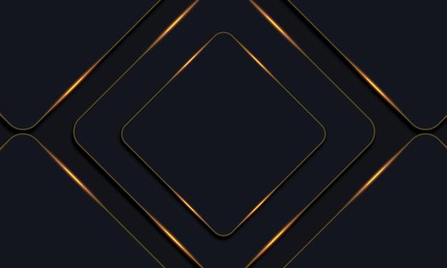 Donkere afgeronde rechthoeken met gouden lijnen achtergrond. vector illustratie.