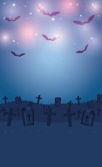 Donkere begraafplaats nachtscène