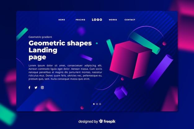Donkere bestemmingspagina met fel geometrische gekleurde vormen